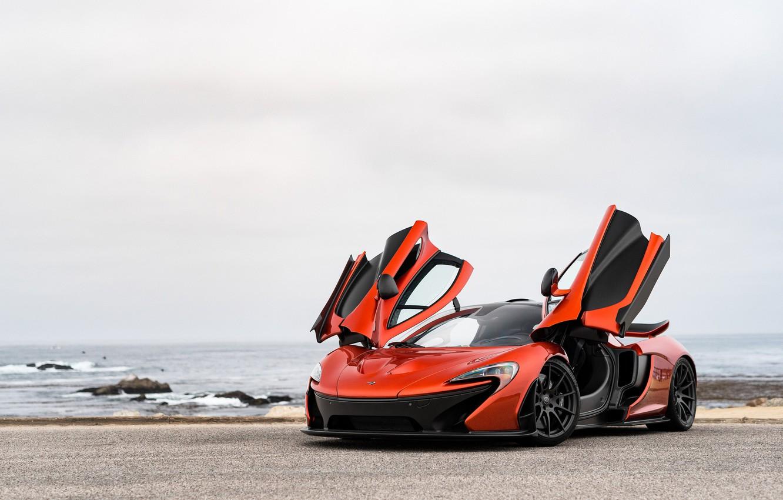 Photo wallpaper road, sea, hypercar, McLaren P1
