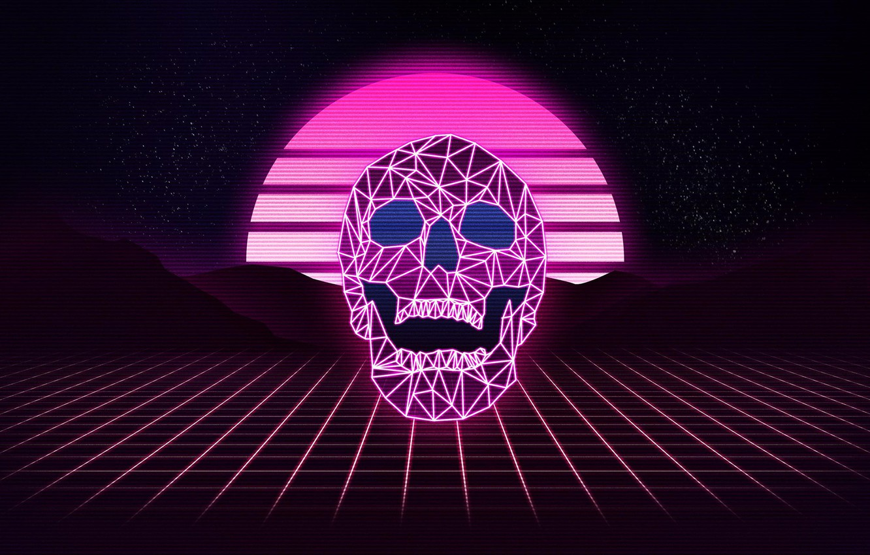Wallpaper Music Stars Skull Neon Background Synthpop