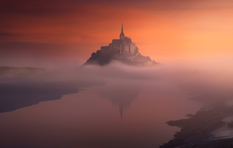 Wallpaper Fog France Island The Evening Morning Mont