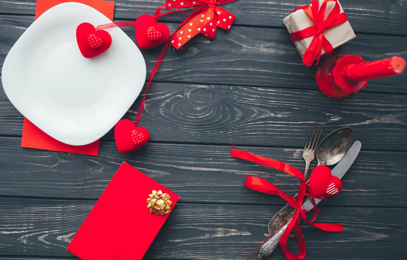 Photo wallpaper love, hearts, Holiday, Dishes, decor, Valentine's day