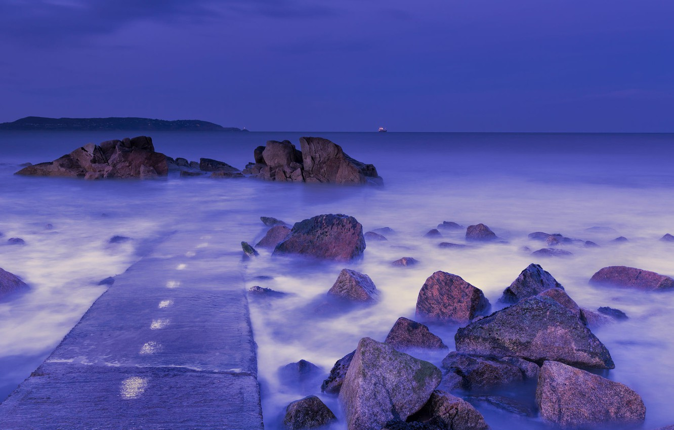 Photo wallpaper Purple, Blue, Sea, Foot, Hour, Forty