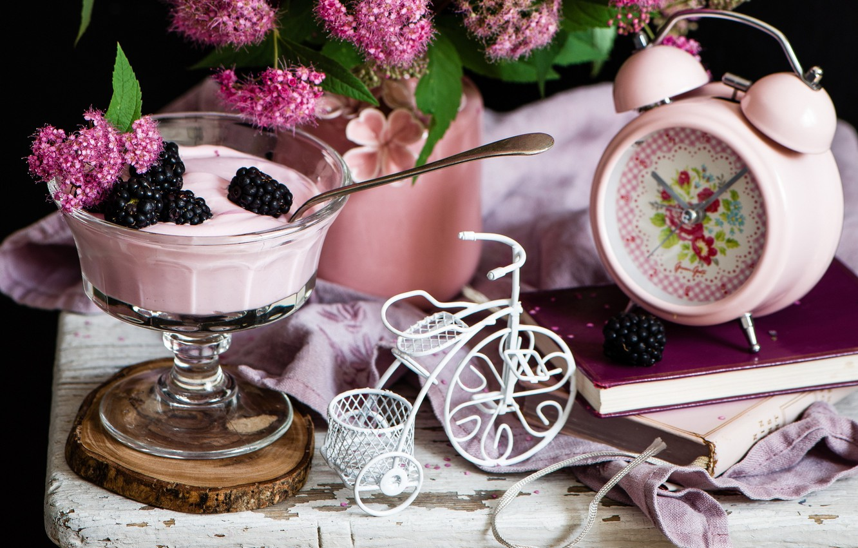 Photo wallpaper flowers, bike, alarm clock, dessert