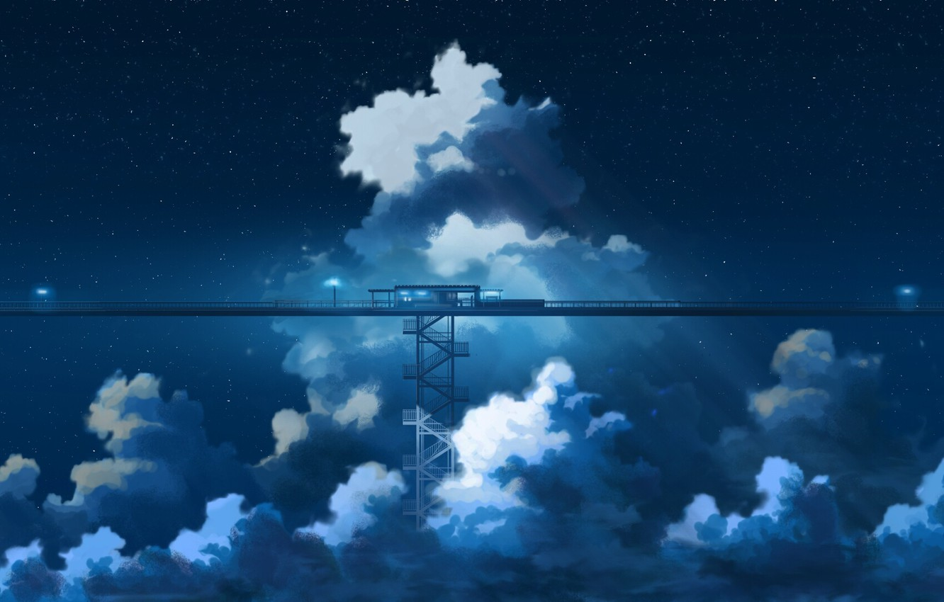 Wallpaper the sky, clouds, night, anime