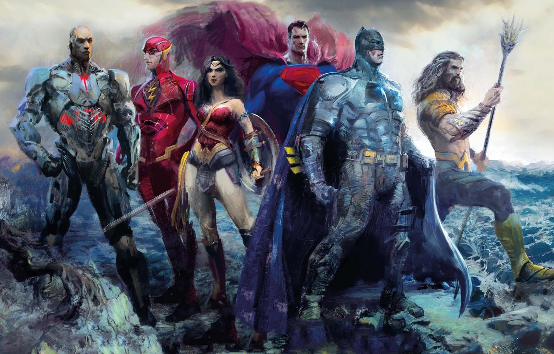 Photo wallpaper fiction, figure, art, Wonder Woman, poster, Batman, characters