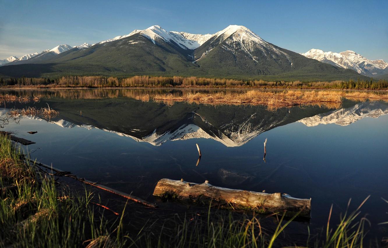 Photo wallpaper mountains, lake, Vermilion Lakes, Jeff Clow