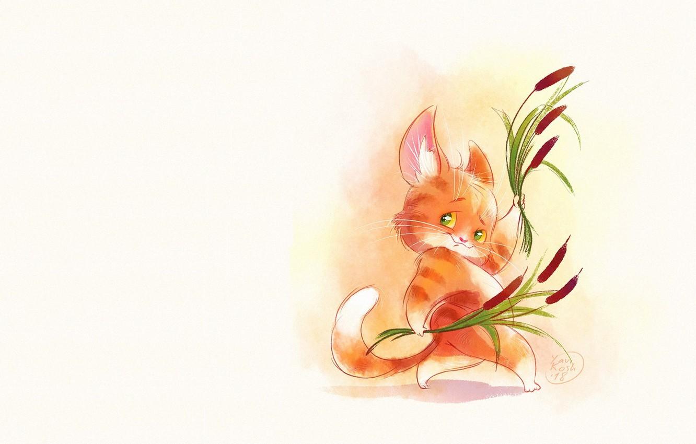 Photo wallpaper cat, art, reed, cattail, children's, Victoria Kosheleva
