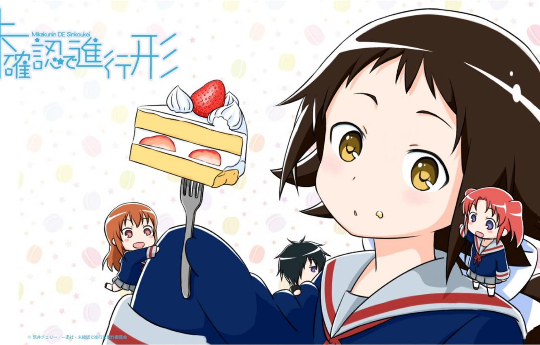 Photo wallpaper schoolgirl, plug, cake, yummy, sailor, chibiki, Mikak both de Shinkoukei, Engaged to a stranger, Automotive …