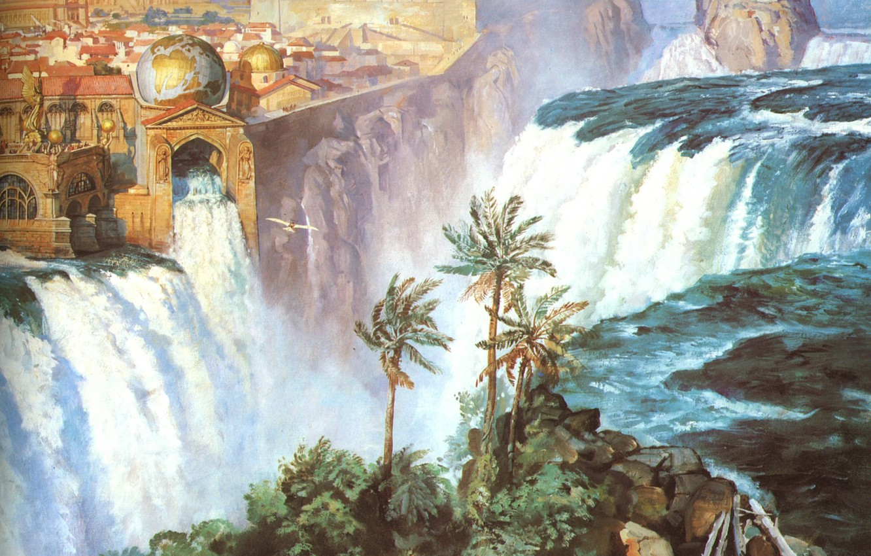 Photo wallpaper the city, Palma, waterfall, globe, JAMES GURNEY