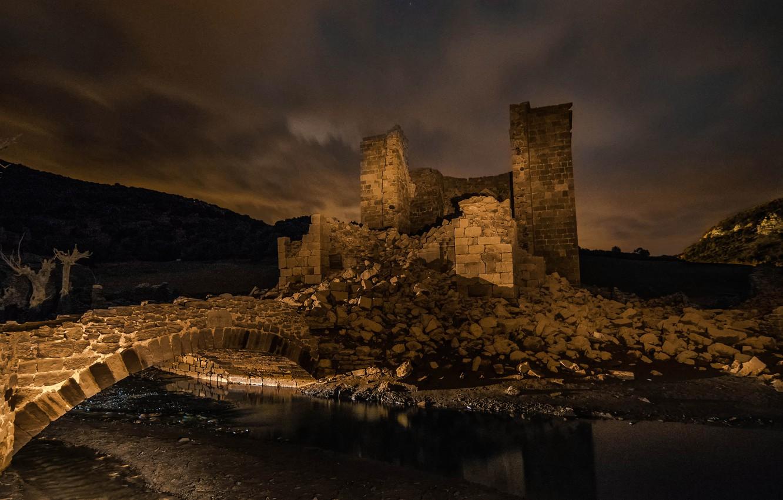 Photo wallpaper the sky, water, clouds, night, clouds, bridge, old, darkness, castle, hills, romance, devastation, ruins, bricks, …