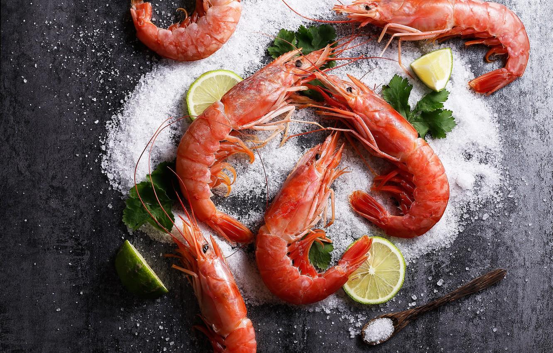 Photo wallpaper lemon, shrimp, salt