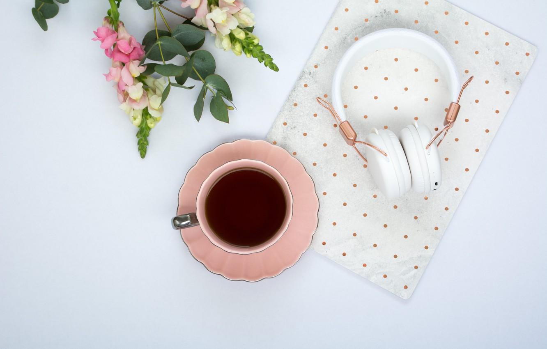 Photo wallpaper flowers, coffee, headphones, Cup, pink, flowers, cup, coffee, tender