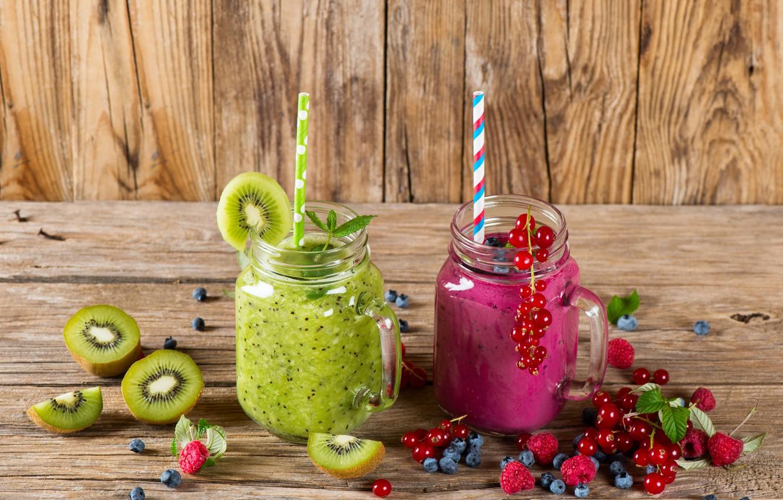 Photo wallpaper berries, raspberry, kiwi, blueberries, jars, drink, currants, smoothies