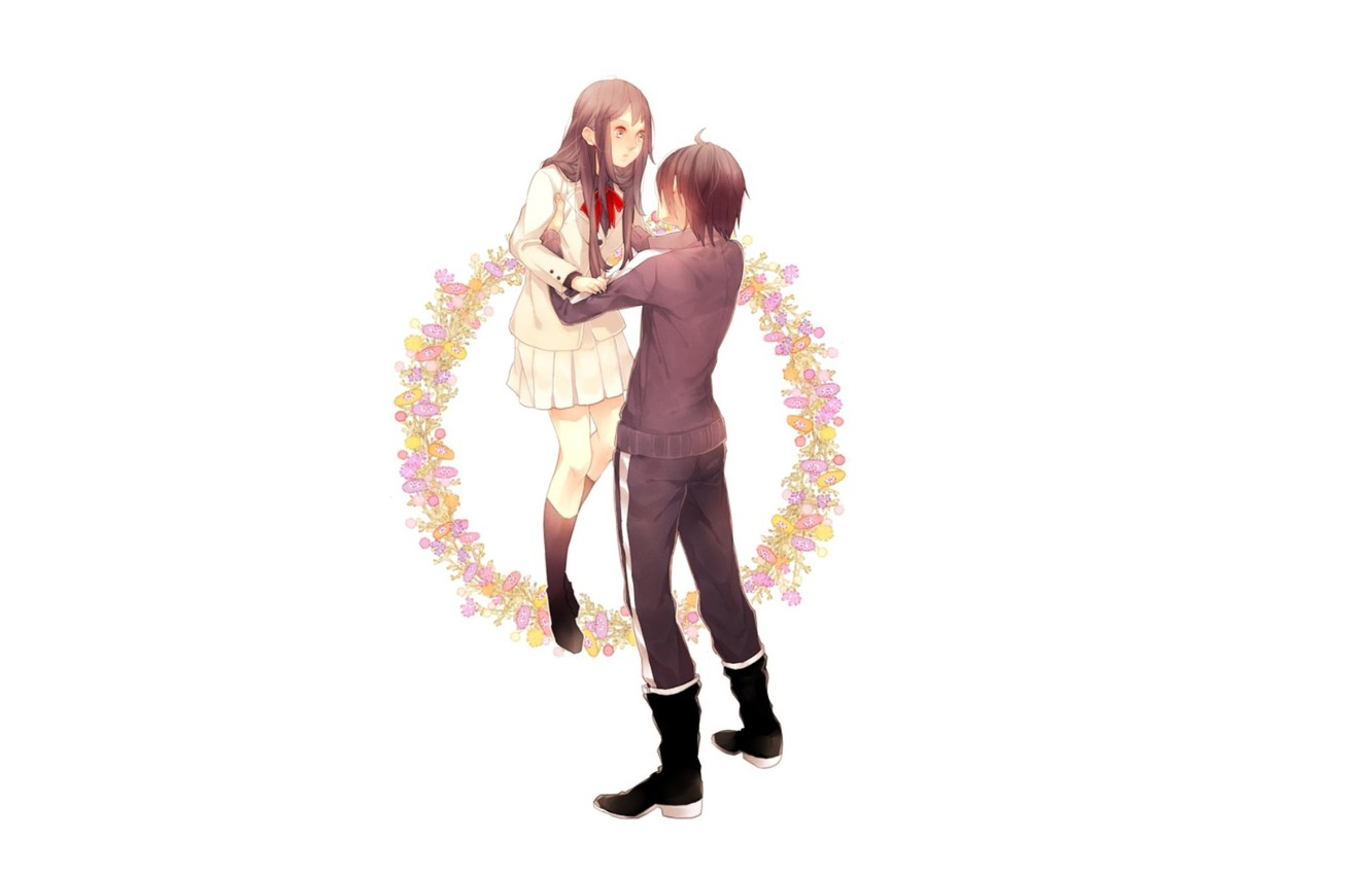 Photo wallpaper boots, white background, schoolgirl, two, wreath, embarrassment, A Homeless God, Yato, Noragami, tracksuit, So Wait …