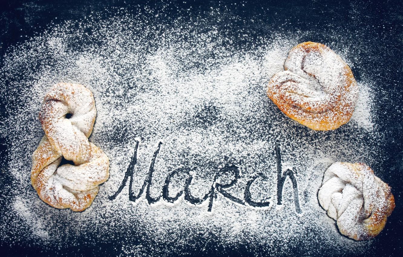 Photo wallpaper March 8, cakes, powdered sugar, buns