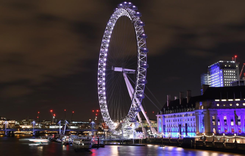 Photo wallpaper night, the city, lights, London, wheel