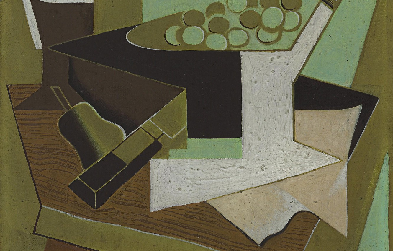 Photo wallpaper 1920, Juan Gris, A bunch of grapes and pear