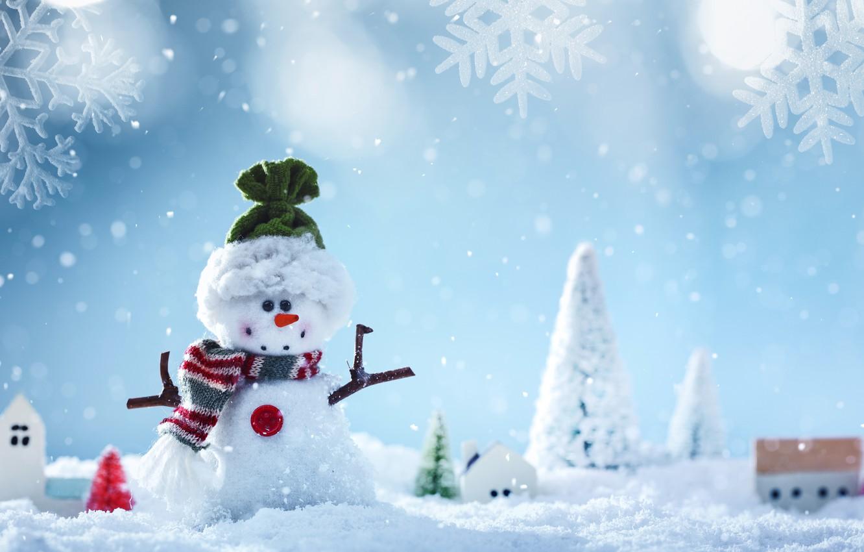 Photo wallpaper winter, snow, snowflakes, New Year, Christmas, snowman, Christmas, winter, snow, Merry Christmas, Xmas, snowman, decoration