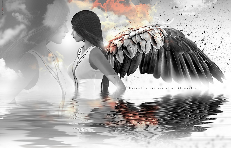 Photo wallpaper girl, reflection, hair, wings