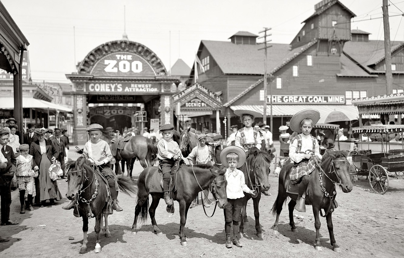 Photo wallpaper children, retro, USA, zoo, output, 1904-the year