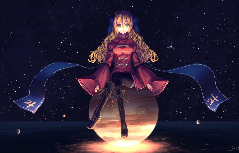 Photo wallpaper planet, anime, art, girl