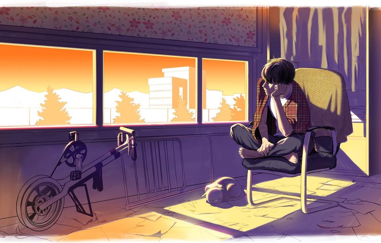 Photo wallpaper cat, room, mood, anime, art, guy, jeesub kim