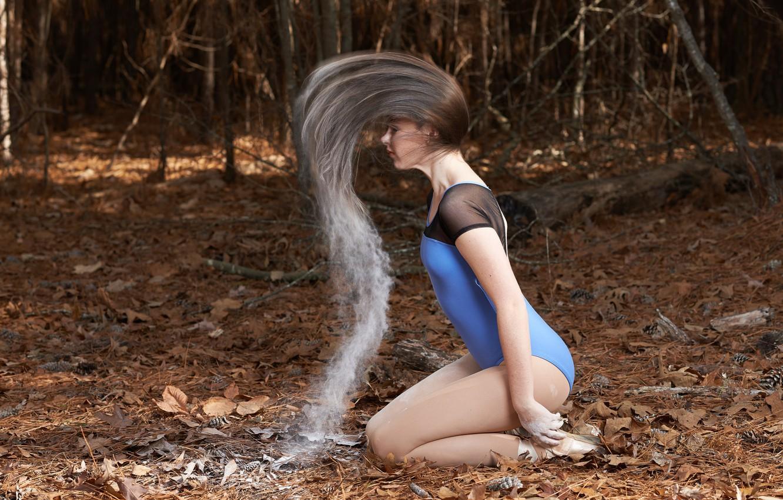 Photo wallpaper forest, girl, hair, flour
