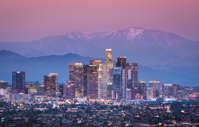 Photo wallpaper mountains, the city, USA, Los Angeles