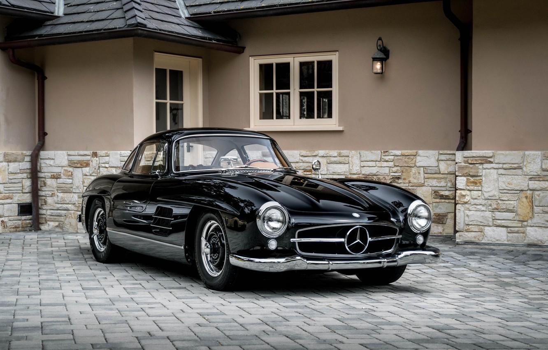 Photo wallpaper Mercedes, Black, 300SL