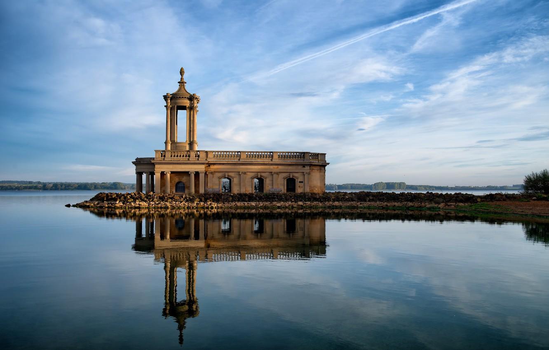 Photo wallpaper reflection, England, chapel, England, Rutland County, Normanton