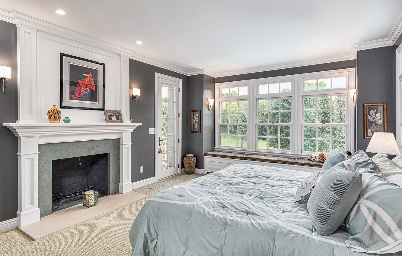 Photo wallpaper design, bed, fireplace, bedroom