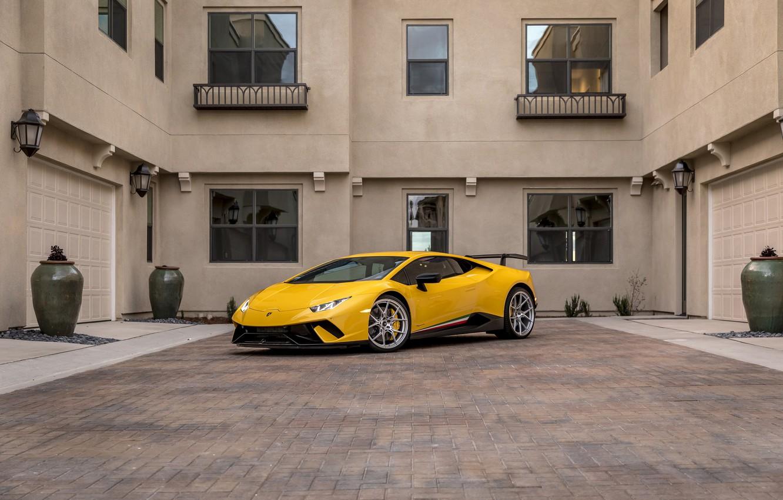 Photo wallpaper Lamborghini, Yellow, VAG, Performante, Huracan