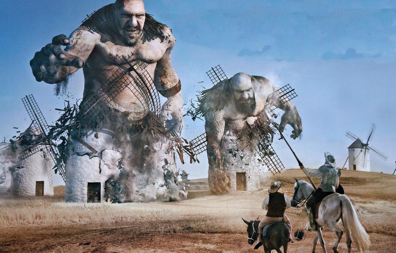 Photo wallpaper mill, the battle, Don Quixote, Sancho Panza, the giants