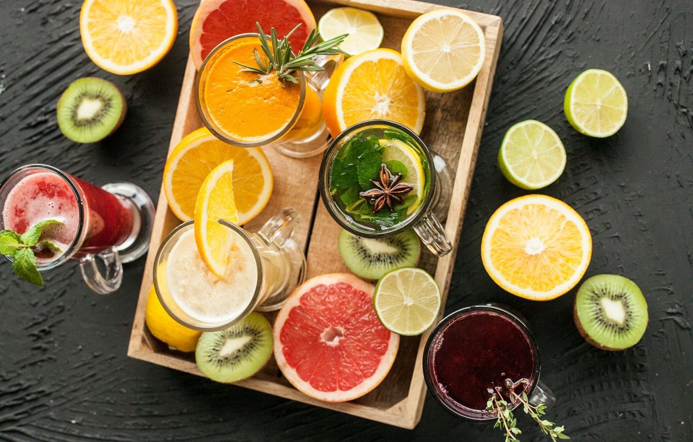 Photo wallpaper drinks, citrus, mint, carnation