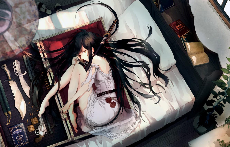 Photo wallpaper Girl, sword, gun, long hair, legs, anime, katana, brunette, book, weapons, bed, roses, artwork, knife, …