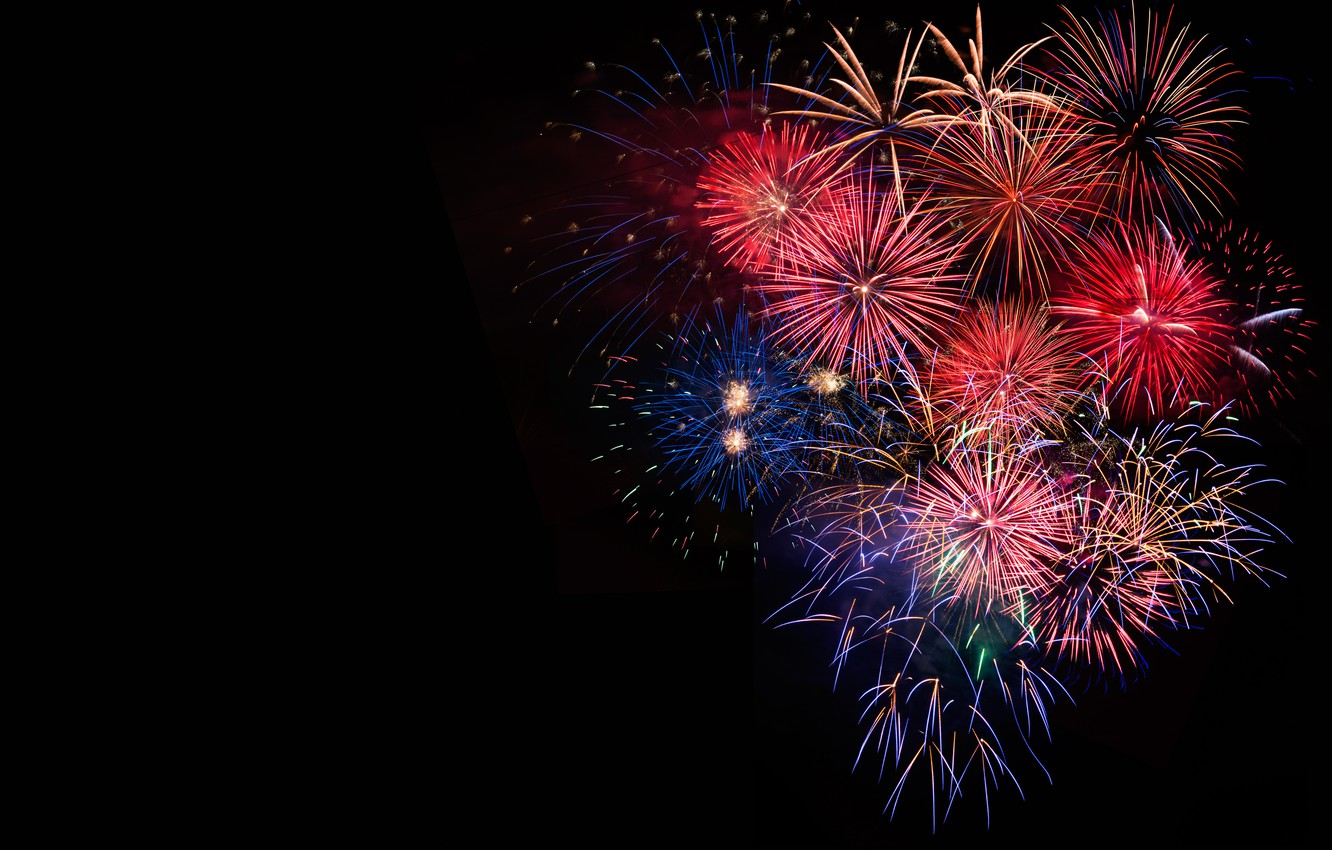 Wallpaper salute, colorful, New Year, fireworks, new year ...