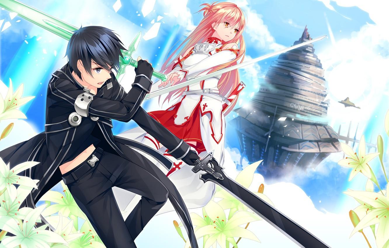 Photo wallpaper anime, art, Sword art online, Sword Art Online, Asuna, Kirito