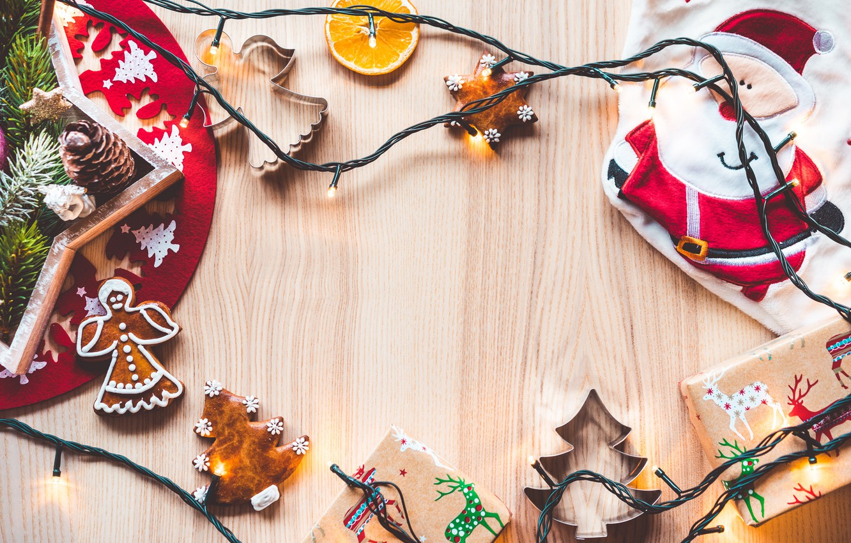 Photo wallpaper holiday, orange, New Year, cookies, slice, gifts, garland, Santa Claus, bumps