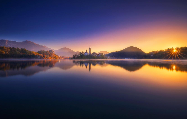 Photo wallpaper sunset, lake, reflection, Slovenia, Lake Bled, Slovenia, Lake bled, Bled, Bled, The Julian Alps, Julian …