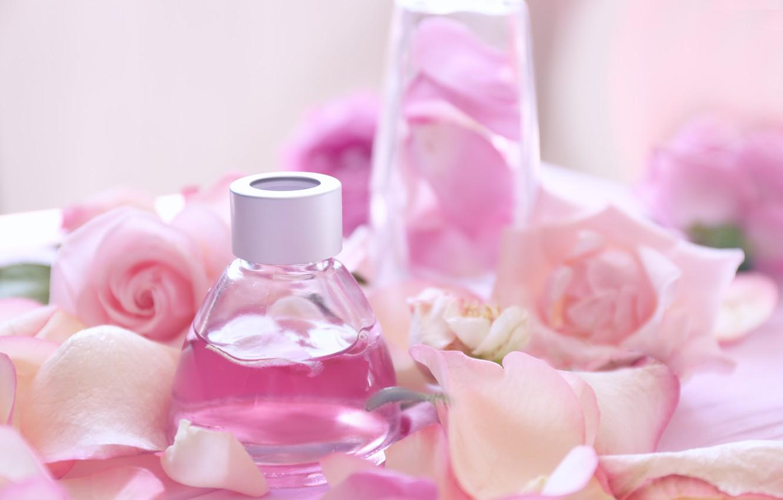 Photo wallpaper perfume, petals, rose, pink, petals, pink roses, spa, oil, anoint