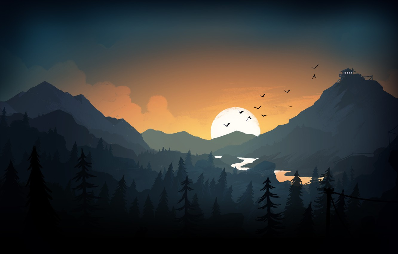 Photo wallpaper Sunset, The sun, The evening, Mountains, The game, River, Forest, View, Birds, Hills, Landscape, Art, …