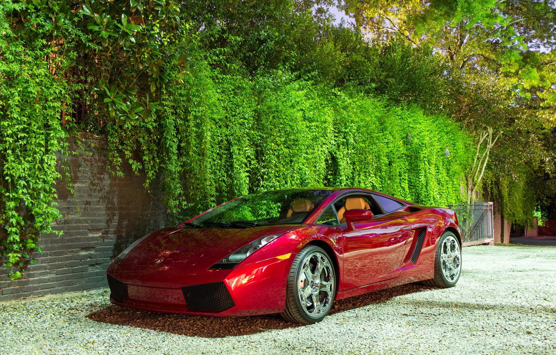 Photo wallpaper Lamborghini, wheels, Red, Gallardo, hrome
