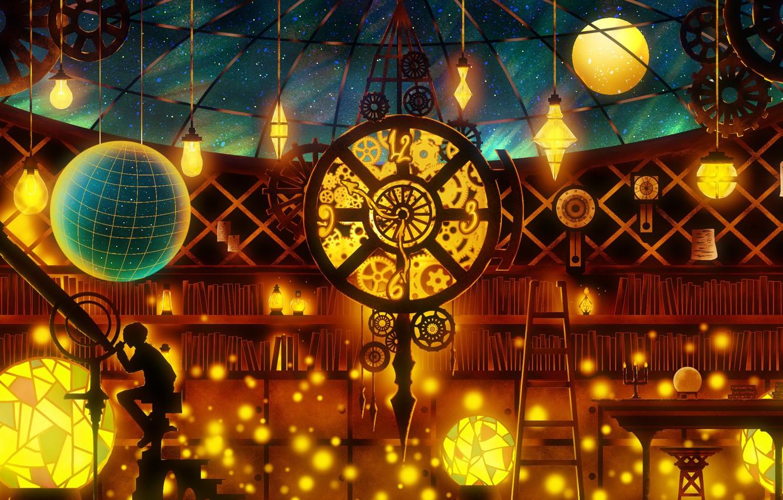 Photo wallpaper interior, guy, telescope, the night sky, by Harada Miyuki