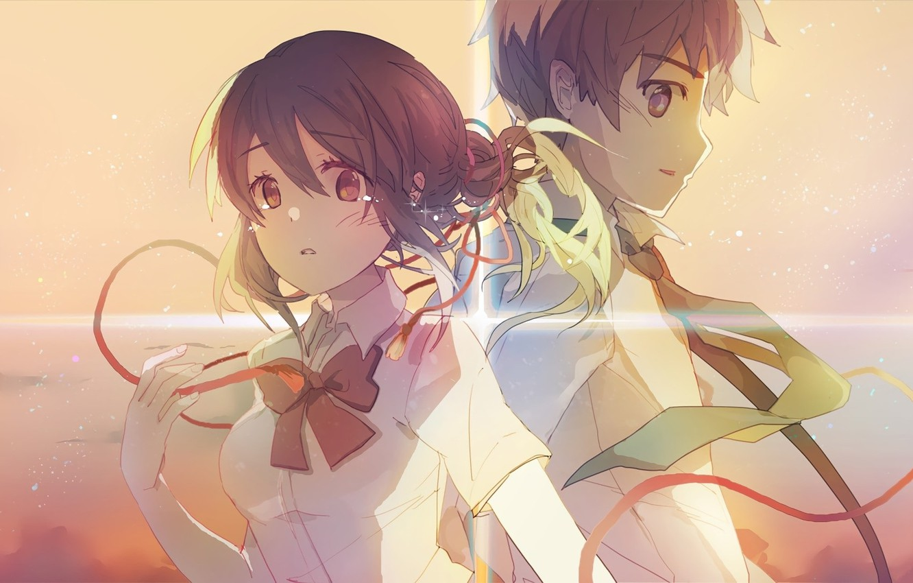 Wallpaper The Sky The Wind Tie Two Red Thread Students Kimi
