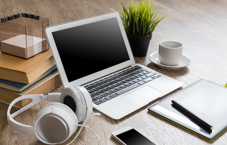 Photo wallpaper Flower, Headphones, Coffee, Laptop, Technique, Phone