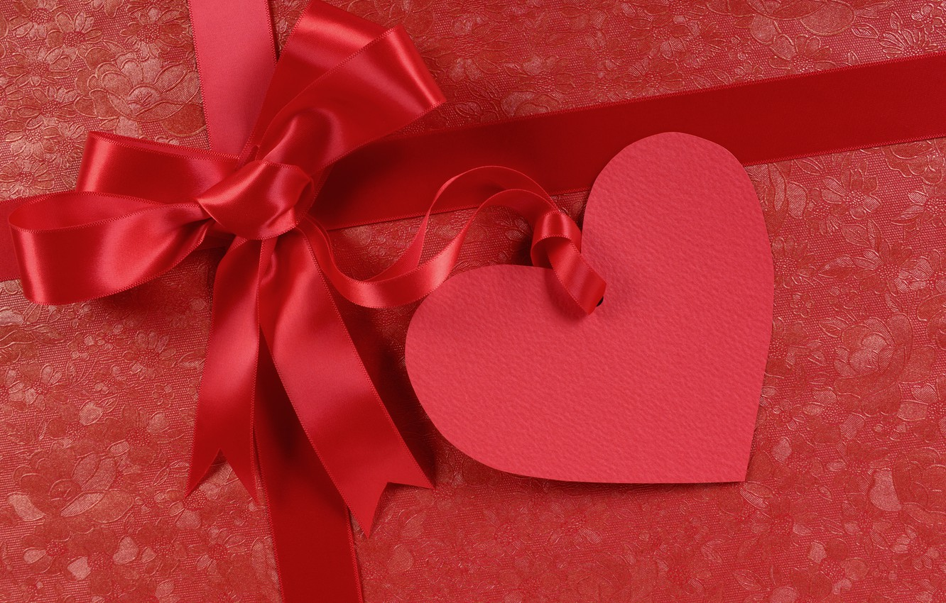 Photo wallpaper holiday, heart, bow, Valentine's day