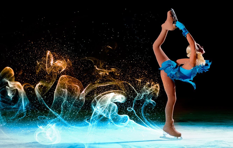 Wallpaper Girl Pose Sport Trail Ice Dance Figure Dress Figure Skating Hairstyle Blonde Outfit Gloves Black Background Athlete Blue Images For Desktop Section Sport Download