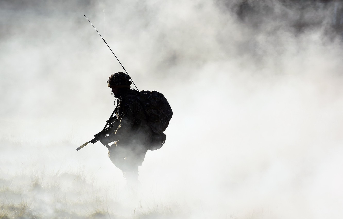 Photo wallpaper fog, weapons, army, soldiers