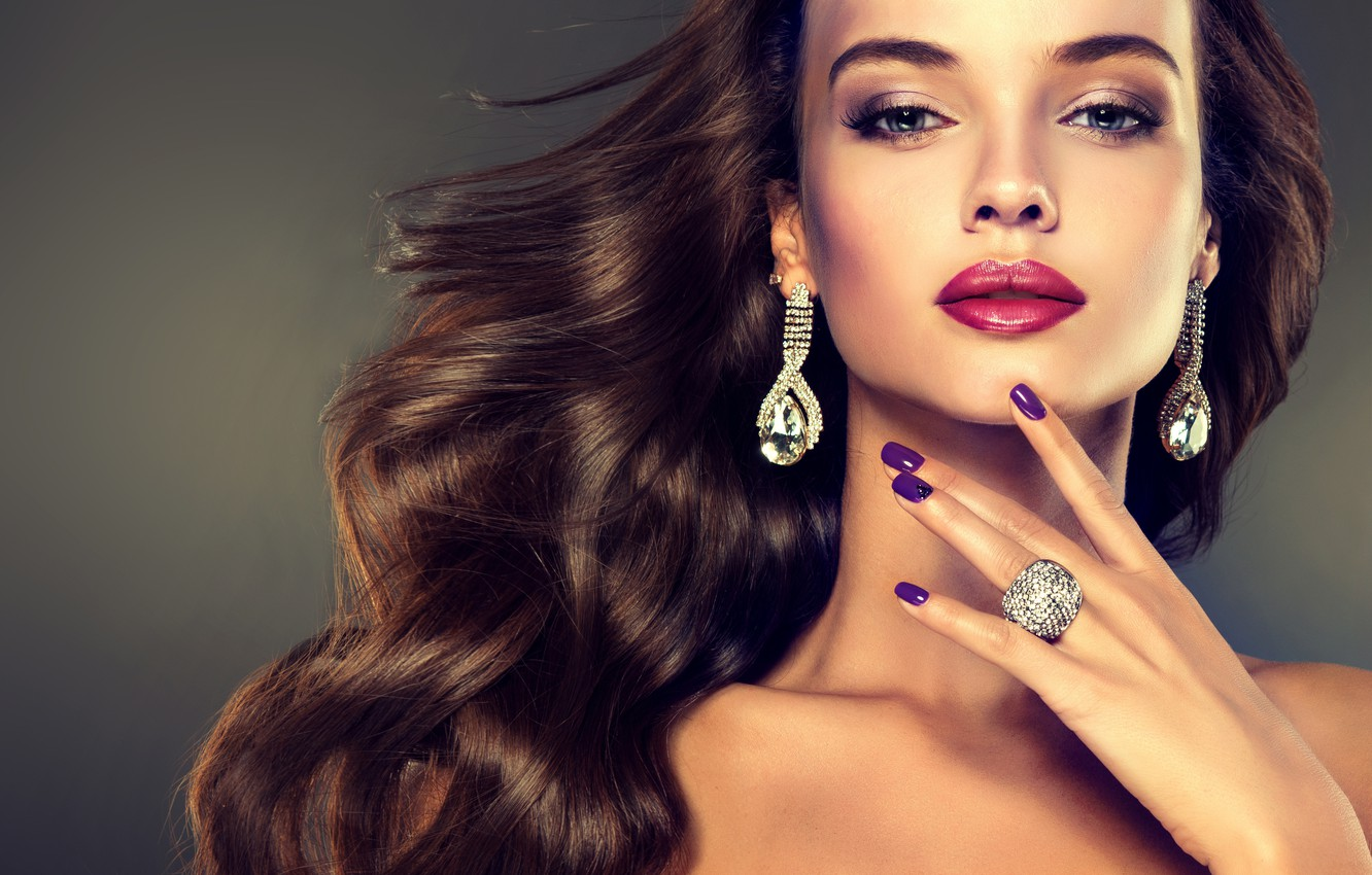 Photo wallpaper girl, decoration, model, hair, ring, hairstyle, red, earrings, lips, manicure, nail, cosmetics, photographer Edward Derule