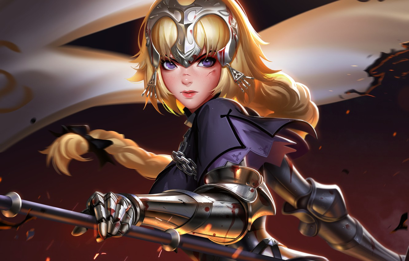 Photo wallpaper girl, sword, blood, Fate/Stay Night, soldier, armor, weapon, anime, purple eyes, blonde, digital art, artwork, …