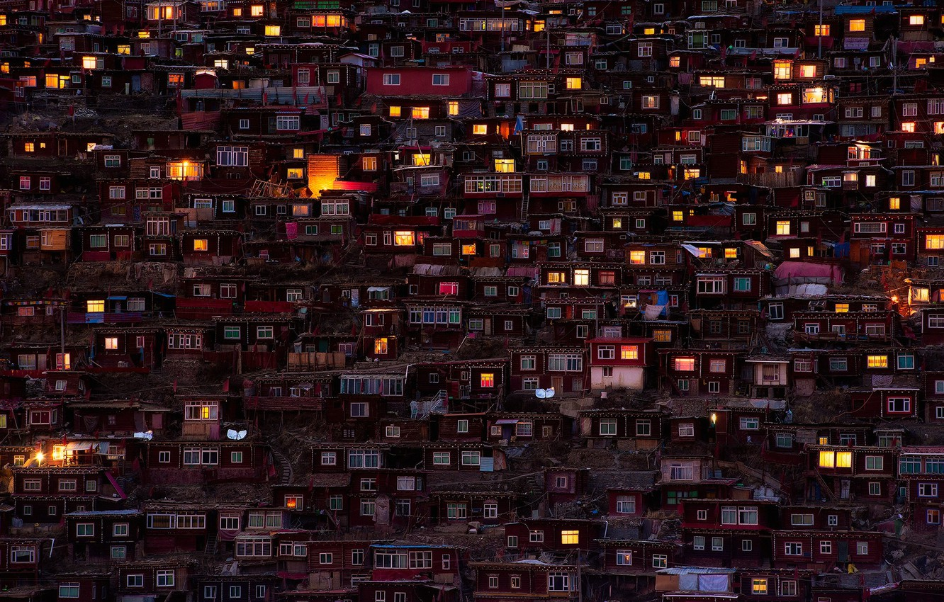 Photo wallpaper light, the city, lights, home, the evening, China, slums